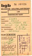 Belgische Golfbiljartbond Gewest Lier - Persoonlijke Kaart - Documentos Históricos