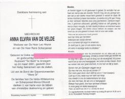 Van De Velde Anna Elvira Heyse Scherpereel Willekomme Mores Dhondt Ooike  Bidprentje Doodsprentje - Religión & Esoterismo