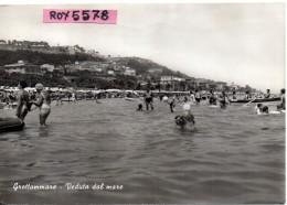 Marche-ascoli Piceno-grottammare Veduta Dal Mare Grottammare Spiaggia Animatissima Anni50 - Italia