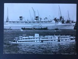 """Rode Kruis Hospitaalschip ,,J.Henri Dunant """"op De Achtergrond Het M.s. Nieuw-Amsterdam(HAL) - Rode Kruis"""