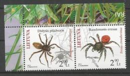 Litauen, 2012, 1100-01, Das Rote Buch: Spinnen. Paar, MNH ** - Lituania