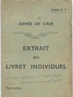 Armée De L´Air / Carte /Extrait DuLivret Individuel / Défense Aérienne Du Territoire/François BOULET/ 1946   OL73 - Aviation