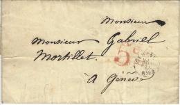 1851- Enveloppe En Port Du De Genève Pour Genève  Taxe 5 Cs  Rouge - ...-1845 Prefilatelia