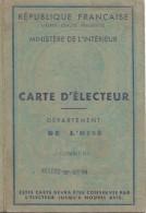Ministére De L'Intérieur/Carte D'Electeur/Département De L'Oise/ VILLERS-sur-AUCHY/François BOULET/ 1949     ELEC9 - Other Collections