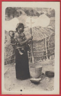 NIGERIA : Carte Photo Of A Woman With One Child , Recto Verso  . - Nigeria