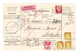 Schweiz  Post Agentur In Chiavenna 13.12.1912 Im Kasten Auf NN24,-CHF Paketkarte Frankiert 10,10CHF Nach St Moritz - Suisse