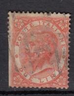 Italie Victor Emmanuel II YT N°21  2 Lire Rouge - Oblitérés