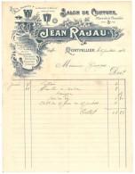 Facture Salon De Coiffure Jean Rajau, Place De La Comédie, Montpellier, Parfumerie, Brosses, Peignes Rasoirs ... - France