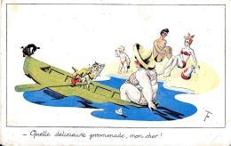 [DC2743] CPA - SERIE BAIGNEUSES - QUELLE DELICIEUSE PROMENADE MON CHER - Non Viaggiata - Old Postcard - Humor