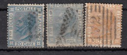 Italie Victor Emmanuel II   YT N°23  23a  24 - Used