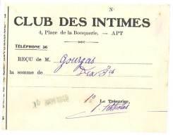 """Ticket Papier """" Club Des Intimes """", Apt ( Vaucluse ) - Tickets D'entrée"""