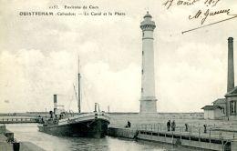 """N°158 E -cpa Ouistreham -le Canl Et Le Phare -la Drague """"Aurore"""" - Commerce"""