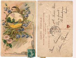 CPA Gaufrée - Fleurs Et Paysage En Médaillon - Rare Cachet Perlé De BEAUCHAMPS (Somme) Indice 10(87115) - Fantaisies