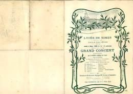 Programme Grand Concert 1909, Lycée De Nimes, Salle Des Fêtes, Messieurs Fontayne & Tagliapietra - Programmes