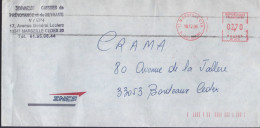 Lettre EMA 13 Marseille CTA 18.12.96 Avec La Marque D'annulation à L'arrivée Spéciale 2 Traits Paralelles Apposées à Bor - Abarten Und Kuriositäten