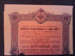 1 Emprunt Etat RUSSE 1909 De 1875 Roubles Ou 5000 FR Obligation + Coupons - Autres