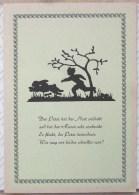 LITHO FOND VERT Fable Texte  ALLEMAND Illustrateur Silhouette Ombre Garcon PETER Et Lapin Paques - Silhouettes