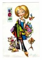 Illustration Illustrateur I. Vernet Femme Mappemonde - Ilustradores & Fotógrafos