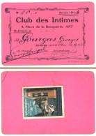 Carte De Membre Du Club Des Intimes, Apt ( Vaucluse ) (timbre Vignette Au Verso : Furtwängler Uhren, Horloge, Allemagne - Autres Collections