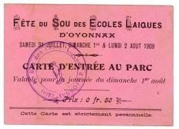Carte D'entrée Au Parc De La Fête Du Sou Des Ecoles Laïques D'Oyonnax ( Ain ) - Autres Collections