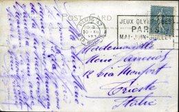 8137 France,  Circuled Card 1923 With Special Postmark Paris 47 La Boetie,  Jeux Olympiques Paris 1924