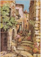 Illustrateur- Aquarelle :  H.   BARRY   Saint  Paul  De  VENCE ,  Vieille  Rue - Illustrateurs & Photographes