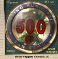 M_p> Gettone Casinò Di San Remo Con Cifra 500 - Stesso Soggetto Da Ambo I Lati - Casino