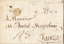 PREFILATELICHE / FIRENZE 1818 - 112 FLORENCE / STAMPATELLO DRITTO SU DUE RIGHE - FAENZA IN ARRIVO - SX296 - 1. ...-1850 Prefilatelia