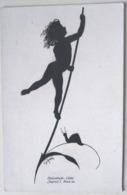 LITHO Chromo Illustrateur DIEFENBACH TEUBNER Silhouette Ombre Enfant Lutin Ange Sur Tige Feuille Et Escargot - Silhouettes