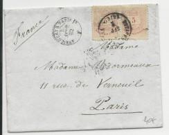 HONGRIE - 1882 - ENVELOPPE De BUDAPEST Pour PARIS - AMBULANT AVRICOURT à PARIS - Marcophilie