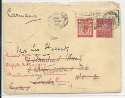 GB / USA - 1929 - MIXTE TIMBRES US + ANGLAIS (PERFORE) Sur ENVELOPPE De NEWARK Pour LONDON REEXPEDIEE à PARIS - Postmark Collection