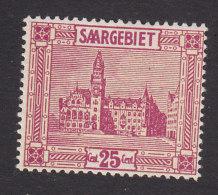 Saar, Scott #107, Mint Hinged, Saarbrucken City Hall, Issued 1922 - Neufs