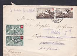 Suisse Marcophilie Deux Paires Pro Patria MI CH 471 Et 472 Confoederatio Helvetica Vers La France En 1946 - Marcophilie