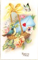 CPA Fantaisie - Illustrateur N. Baré - Bonne Fête - Panier - Oiseau - Papillon - Fleur - Autres Illustrateurs