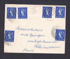 UK Marcophilie Queen Elisabeth II 1 Blue X 6 De Barnstaple Vers France Chelles - Postmark Collection