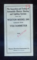 Weston Electrical Instrument Co. *Voltammeter Model 280...* Tapas Y 47 Pags. Meds: 90x158 Mms. - Máquinas