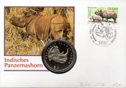 """BRD Numisbrief """"Indisches Panzernashorn"""" 1.5.2001 BONN Mit 1$ Eritrea Nashorn (Münze)+110+56Cent 2001 Nashorn - [ 7] 1949-… : RFA - Rep. Fed. Tedesca"""