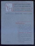 *Construcciones Electro Mecánicas. Barcelona 1916* Tapas Y 15 Hojas. Meds: 129x175 Mms. - Máquinas
