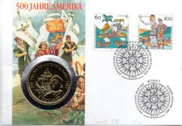 "BRD Numisbrief ""500 Jahre Amerika"" 7.5.1992 BONN Mit 5$ Cook Islands 1991 (Münze) 60,100Pf. 1992 Entdeckung Amerikas - [ 7] 1949-… : RFA - Rep. Fed. Tedesca"
