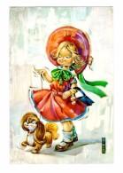 Illustrateur Illustration I. Vernet Jeune Fille Promenant Son Chien - Illustratoren & Fotografen