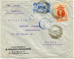 COTE FRANCAISE DES SOMALIS LETTRE PAR AVION CENSUREE DEPART DJIBOUTI 3 AVRIL 44 POUR L´ALGERIE - Côte Française Des Somalis (1894-1967)