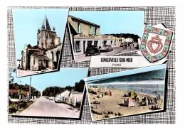 85 Longeville Sur Mer Carte 4 Vues Hotel De La Plage Restaurant Voiture Citroen DS 2cv 2 Chevaux Carte Non Voyagée - Autres Communes