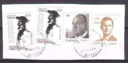 España 2016- 4 Sellos Usados Con Fragmento-Don Quijote Y Rey Juan Carlos Y Felipe VI-Espagne Spain Spanien Spagna - 1931-Today: 2nd Rep - ... Juan Carlos I