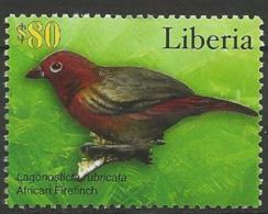 Liberia MNH - Family WAXBILLS + MUNIAS And ALLIES - African Firefinch (Lagonosticta Rubricata ) - Zangvogels