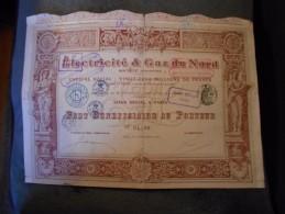"""Part Beneficiaire"""" Electricité Et Gaz Du Nord """" Paris 1910 (electricity,gas). N°04230 - Electricité & Gaz"""