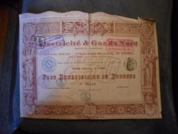 """Part Beneficiaire"""" Electricité Et Gaz Du Nord """" Paris 1910 (electricity,gas). N°06015 - Electricité & Gaz"""