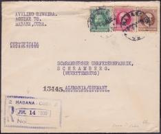 1917-H-271 CUBA REPUBLICA. 1917. 1-2-10c PATRIOTAS. 1930. SOBRE CERTIFICADO DE LA HABANA A ALEMANIA GERMANY. - Cuba