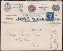 1917-H-273 CUBA REPUBLICA. 1917. 5c PATRIOTAS. SOBRE COMERCIAL FARMACIA SARRA A FRANCE FRANCIA. PHARMACY DRUG STORE. - Lettres & Documents