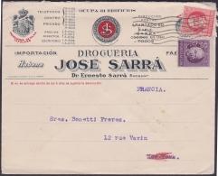 1917-H-275 CUBA REPUBLICA. 1917. 2-3c PATRIOTAS. SOBRE PERFINS FARMACIA SARRA A FRANCE FRANCIA. PHARMACY DRUG STORE. - Cuba