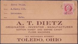 1917-H-276 CUBA REPUBLICA. 1917. 2c PATRIOTAS. SOBRE DE MATANZAS A US. - Cuba